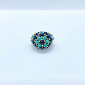 Stella & Dot blue gold tone rhinestone dome ring